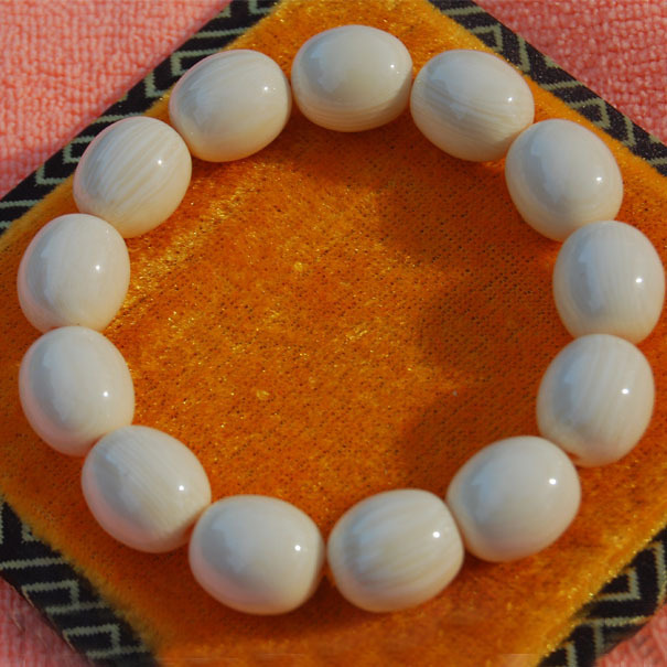 Kappa light flat Ivory fruit 14mm hand bead hand hand on pieces of ivory Beads Bracelet