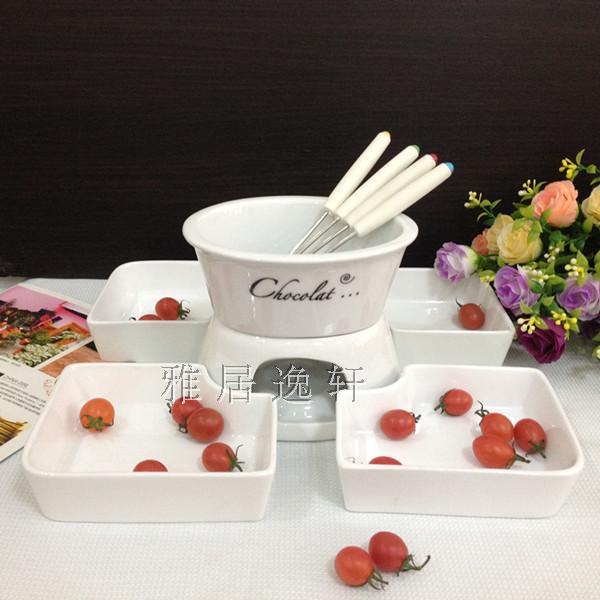 椭圆形陶瓷巧克力火锅12件套 芝士火锅 哈根达斯冰淇淋火锅配拼盘