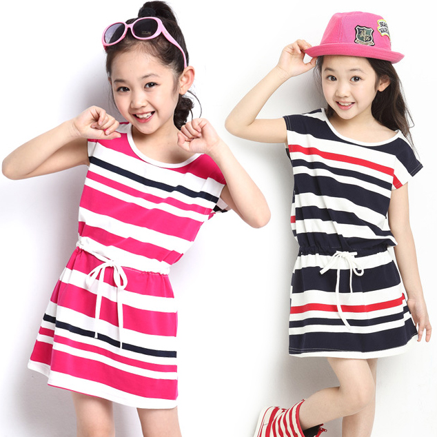 2014 New Girl skirt no sleeve summer colthing babay dress stripe skirt Taobao Agents