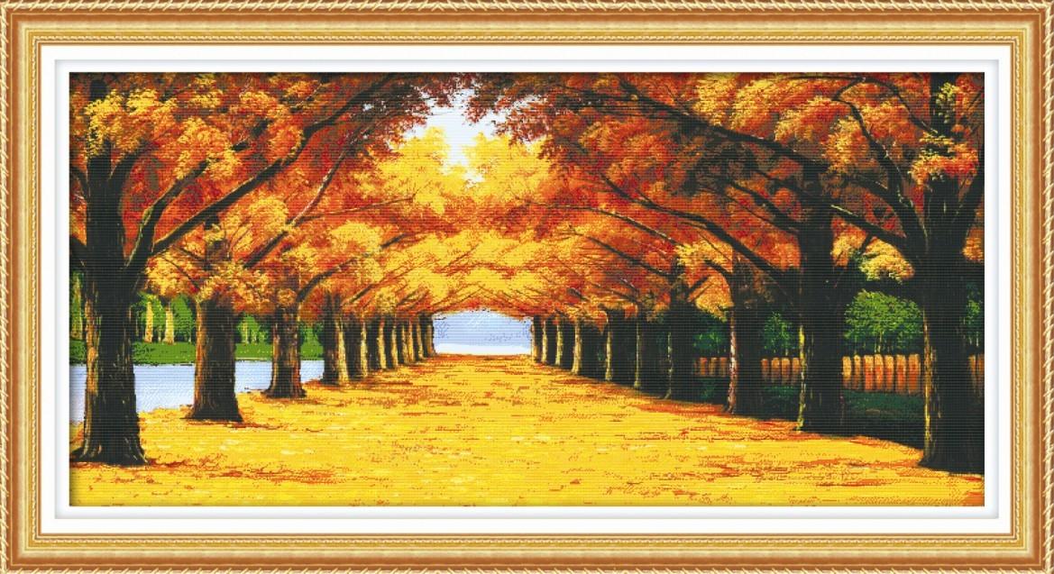 十字绣黄金满地三十字绣画客厅系列风景精准印花十字绣风景花草大