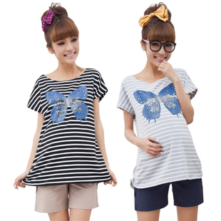 Female Royal maternity dresses summer maternity t shirts-Korean version of loose women short-sleeved shirt women summer clothes 12,010