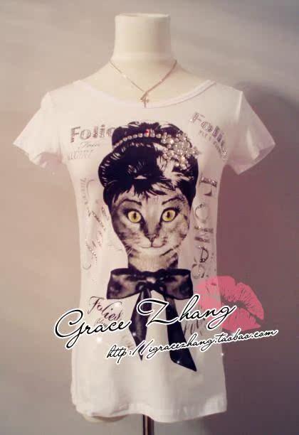 Футболка Новый blugirl Folies Hepburn классицистическом коте девочек большой бриллиант короткие t рубашка