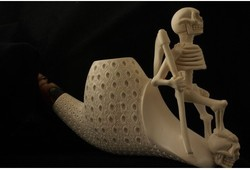 美国ebay代购 Meerschaum Art Hand Carved Pipe艺术 海泡石烟斗
