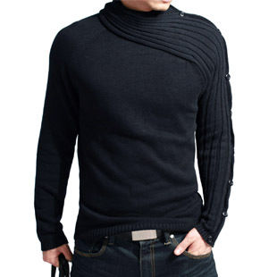 [KUEGOU] cotton personalized cool design men's fashion sweater collar asymmetric sleeves MZ-8801