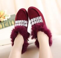 新款时尚英伦仿狐狸毛单鞋低帮鞋圆头绒面平跟鞋水钻个性潮流女鞋