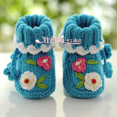 Special hand-knit Korean baby toddler shoes baby shoes handmade knit wool shoes soft soled shoes Spring