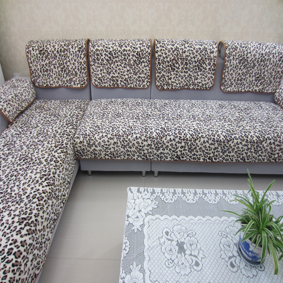 Накидка для дивана Печати леопарда плюшевые для осень/зима скольжения кожу полотенцем деревянные подушки диван диван диван Slipcover Обложка Диван подушки пользовательских l образный