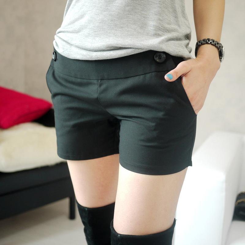 Женские брюки Сохранение класса: Джокер тонкий стильный сторона молнии черные шорты Шорты, мини-шорты Другая форма брюк