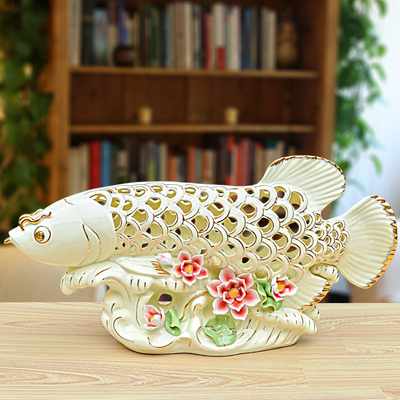 Sitting Room Ceramic New Lucky Gold Dragon Fish And Furnishing