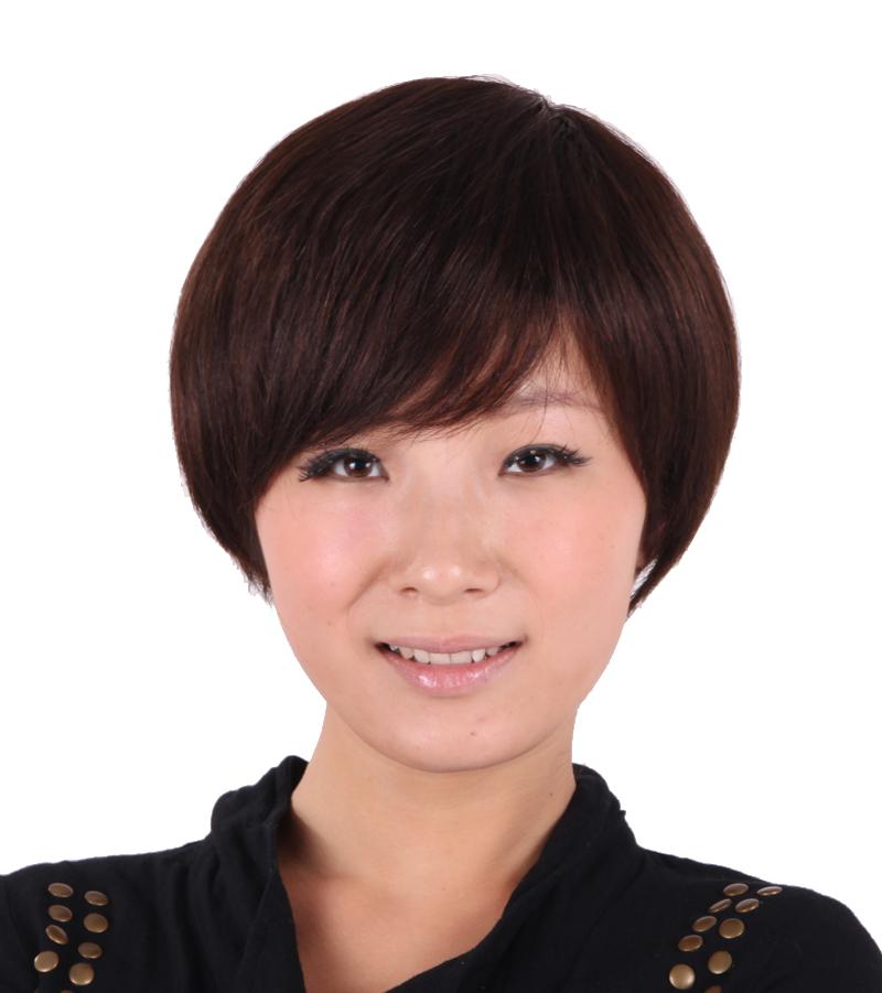 雅丽丝100%真人发丝假发套真发套假发 短发蓬松短直发干练帅气