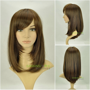 Popular black hair woman wig long straight repair kits in  fluffy girl long straight hair in  of thin style wig