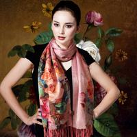 春秋冬季高档桑蚕丝丝巾女 真丝拉绒双层长款保暖围巾披肩两用款
