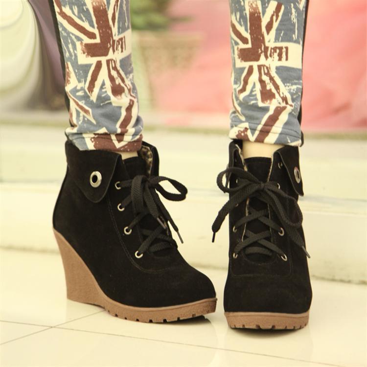 Круглый носок Танкетка Шнурок На высоком каблуке (6- 8 см) Клееная обувь Шнуровка, Танкетка Однотонный цвет