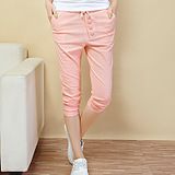 Summer Candy-colored harem Pant plus size women's clothing and leisure school candy pants cotton thin cropped trousers