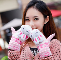 Fire purple Korean cute Bunny rabbit head in autumn and winter gloves ladies Lady thicken wool warm fluffy cute