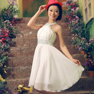 Qingguo small wedding dress wedding dresses gown hanging neck skinny small skirt chiffon bridesmaid dress XLF1-1