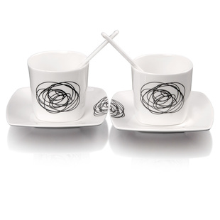 Fashion ideas-luxury European style bone China graffiti Maener snow couple coffee cups set wedding gift Cup