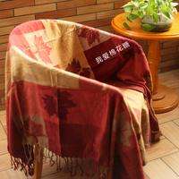 包邮 雪尼尔 沙发巾 沙发毯 钢琴罩 床盖 盖毯 双人 加拿大红枫叶