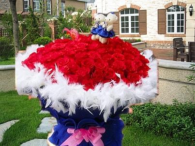 99红玫瑰赚送2小熊花束情人节生日婚礼鲜花南通海安如东通州花店