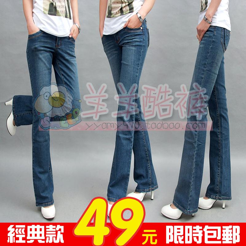 秋新款韩版弹力牛仔裤女微喇叭裤显瘦提臀大码牛仔喇叭 通勤女裤