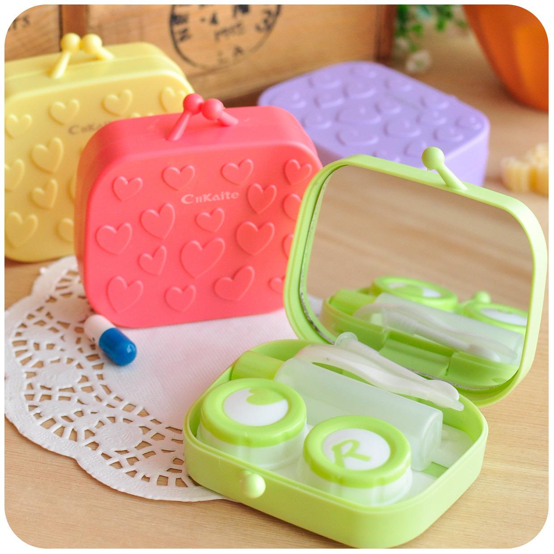 默默爱♥可爱创意 爱心小提包 隐形眼镜盒 眼镜伴侣盒 带镜子