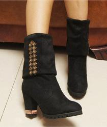 韩国铆钉水钻粗跟高跟磨砂绒面女靴子弹力靴多穿法女靴高筒靴女鞋