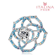Luxuriant Crystal Rose Italina jewelry brooch brooch female