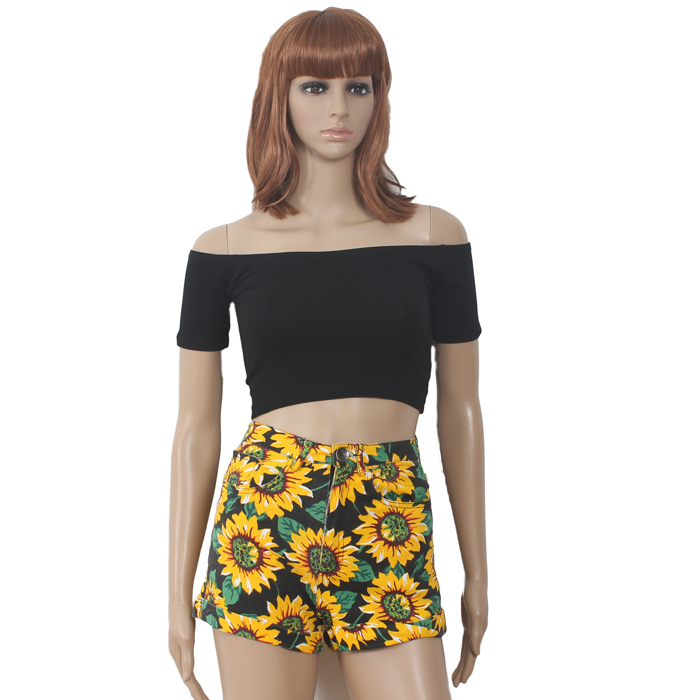Женские брюки американский одежды АА подсолнечника цветочные печати Slim Fit пакет хип тонкий высокой талией обжима брюки женщин