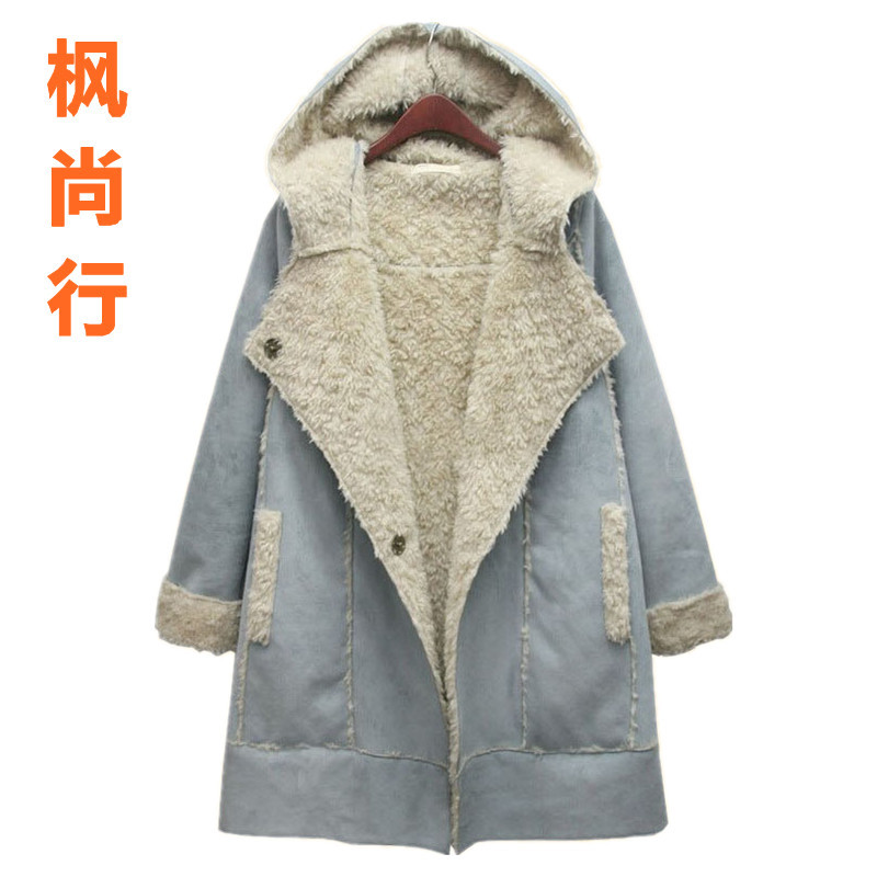 Clearance sale at a loss! Korean clothing women's clothing long padded coat in plus size cotton clothing suede lambs wool coat