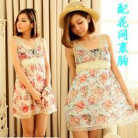 夏季蕾丝边v领低胸短裙花裙子 甜美娇小女生连衣裙度假风海边裙子