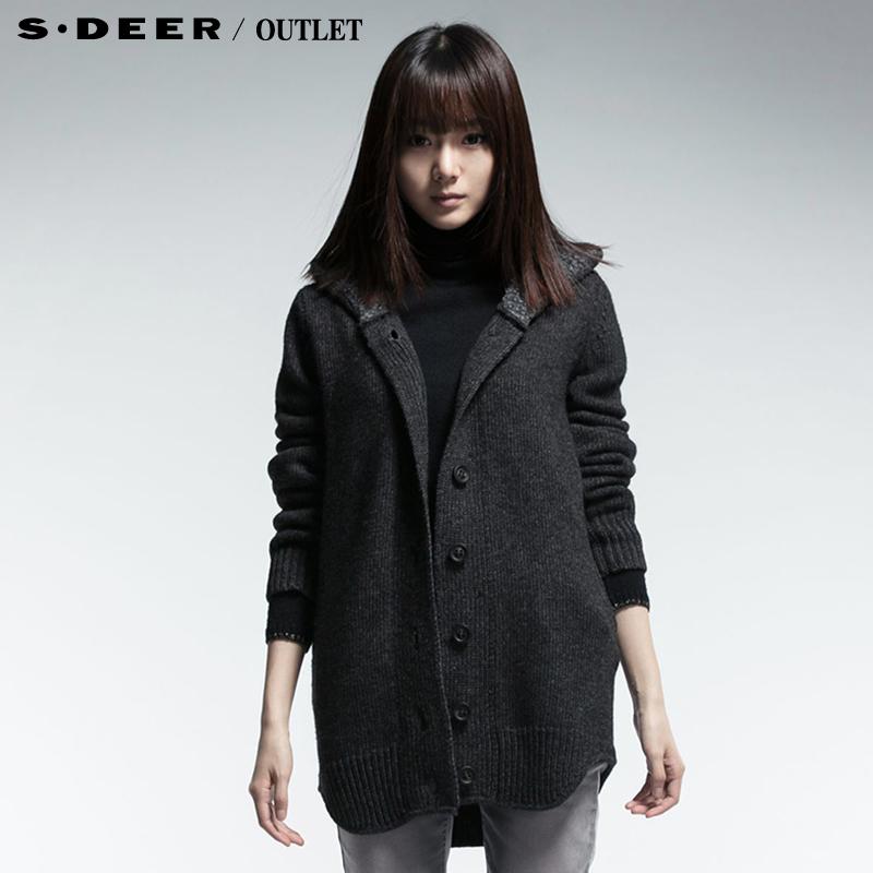 【首发】sdeer圣迪奥女装冬装加绒保暖帽里弧度摆毛衣