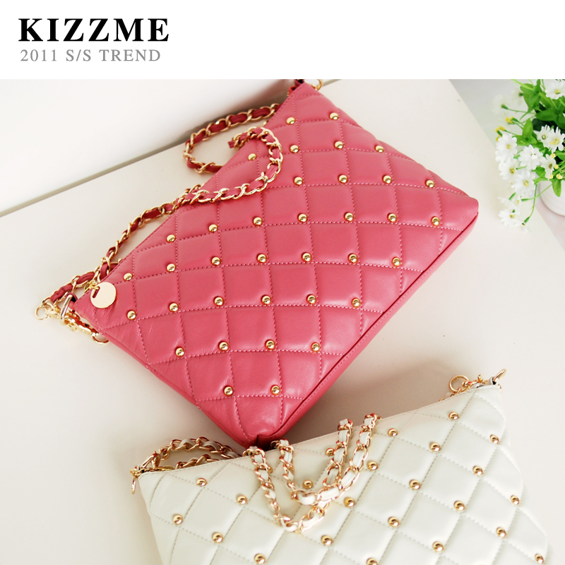 hot Korean style diamond pattern rivet sheepskin leather shoulder bag