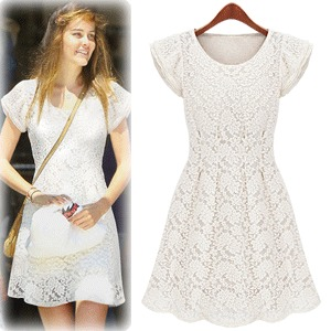 New 2012 Summer flying European and American retro women's or girls ' skirts flying sleeves of women's moral character quality short sleeve lace dress