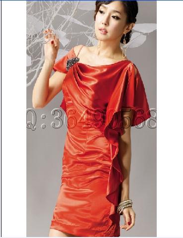 Вечернее платье Японский и корейский небольшое плечо вечернее платье платье короткое тощий невесты и фрейлина свадебный тост костюм b1218