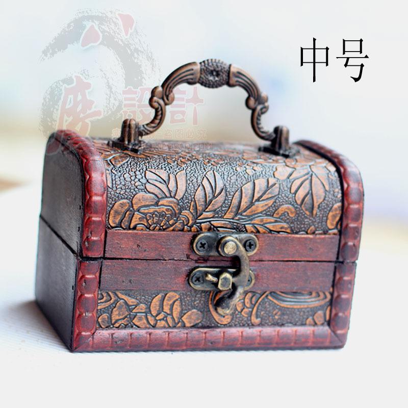 带锁木盒子 收纳盒 白牡丹首饰盒 复古民族风 首饰盒 实木 仿古代
