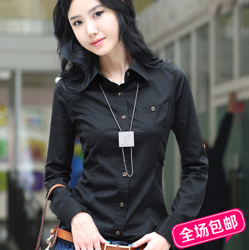 new summer 2014 white shirt long sleeve shirts big yards shirt professional women's wear women's black clothes