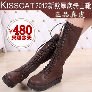 接吻猫 2012秋冬新款长靴 真皮女靴子粗跟骑士靴 中跟厚底过膝靴
