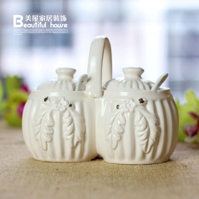 创意家居生活用品 欧式陶瓷调味瓶两件套调料罐 套装 厨房实用