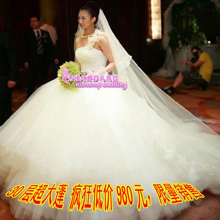Свадебное платье 2012 новый стиль свадебное платье, широко известный как Хань Пэн, 300 м роскошный большой хвост Свадебное платье и Ultra Edition одно плечо повязку 2012 Сетка Юбка-пачка Корейский