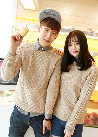 韩版2014甜美学院风圆领