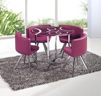 休闲简约 圆形 钢化玻璃 洽谈桌椅 一桌四椅 餐桌餐椅组合 包邮