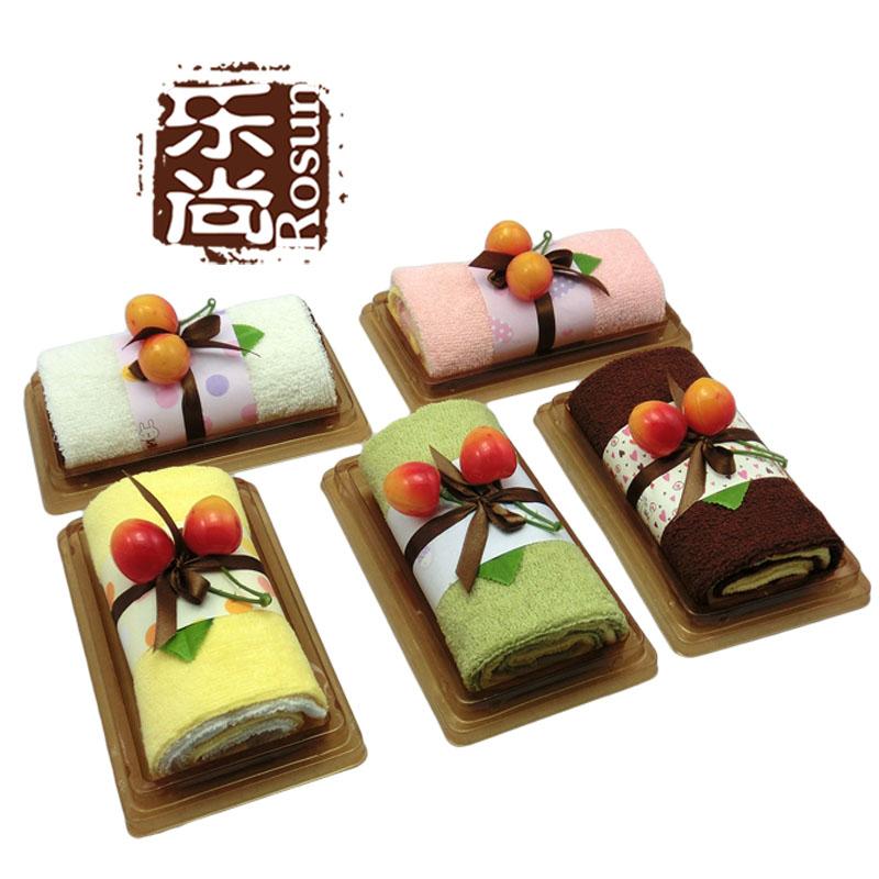 乐尚 蛋糕毛巾 婚庆礼品 精装瑞士卷 纯棉方巾 cake towel