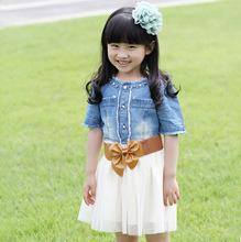 2012夏季童装女童连衣裙 韩国新款儿童公主牛仔拼接纱裙子 送腰带