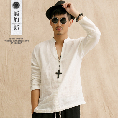 Chinese wind Chinese men's linen men's casual white shirt collar trend in spring and autumn long-sleeved cotton shirt men