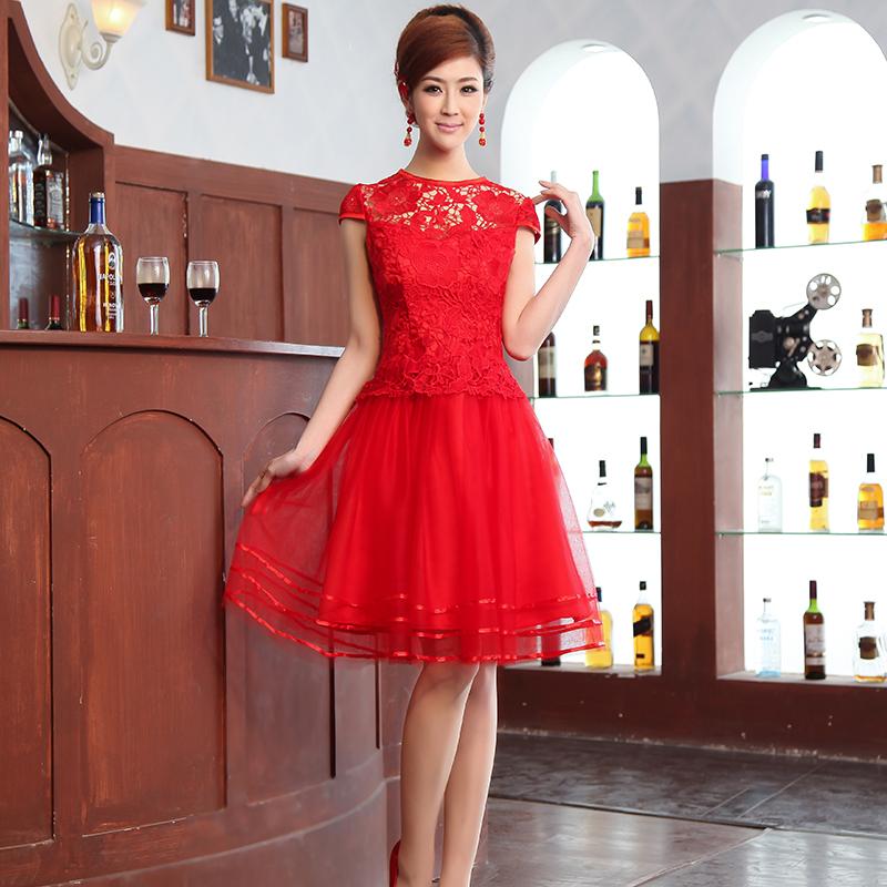 高档の2014新款婚纱礼服中式红色水溶蕾丝大码结婚敬酒服短款旗袍