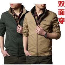 Spring authentic NIAN JEEP's two/double jacket collar men cotton leisure coat big yards