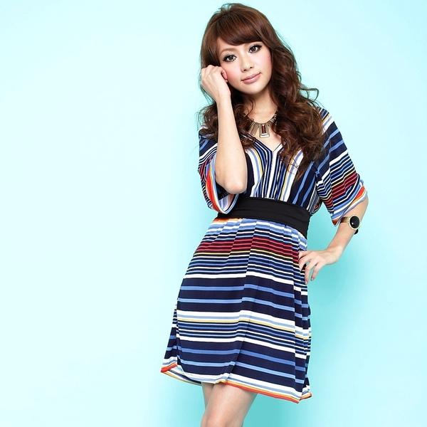薇可冰丝短袖条纹拼接显瘦连衣裙
