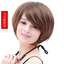 Wig hair fluffy round face girl BOBO flies homing head inclined fringe short wig Brown