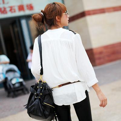 женская рубашка Legirl 6120 2011 Городской стиль Длинный рукав Однотонный цвет Воротник-стойка