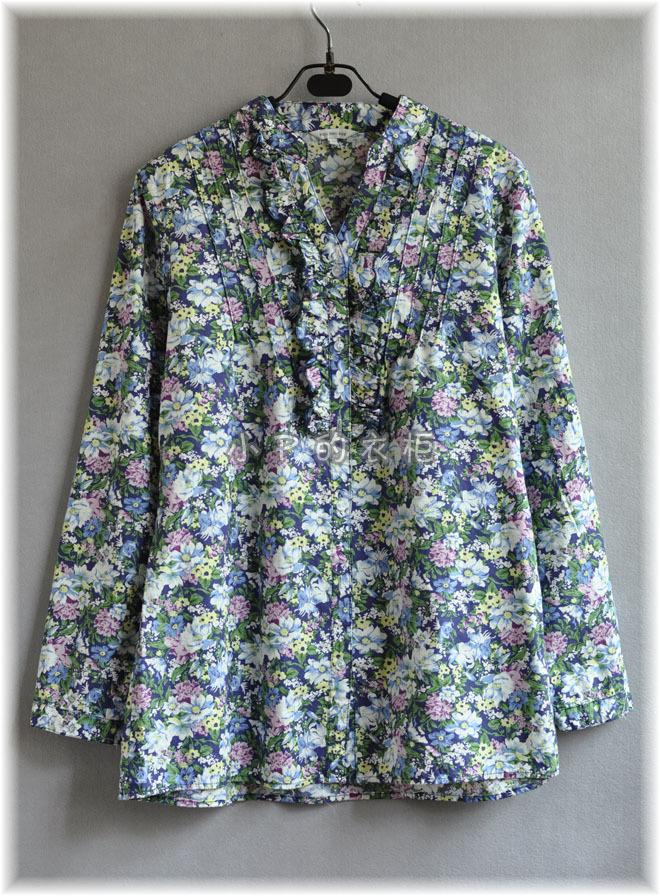 женская рубашка PDD/119 Оригинальный дизайн Длинный рукав Рисунок в цветочек V-образный вырез
